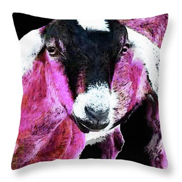 Pop Art Goat - Pink - Sharon Cummings Throw Pillow by Sharon Cummings