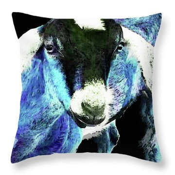 Goat Pop Art - Blue - Sharon Cummings Throw Pillow by Sharon Cummings