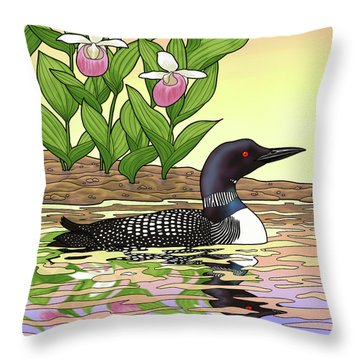 Minnesota State Bird Loon And Flower Ladyslipper Throw Pillow by Crista Forest