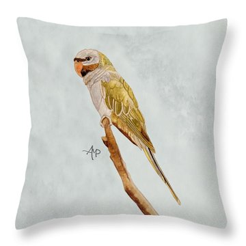 Derbyan Parakeet Throw Pillow by Angeles M Pomata