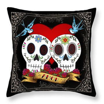 Love Skulls II Throw Pillow by Tammy Wetzel