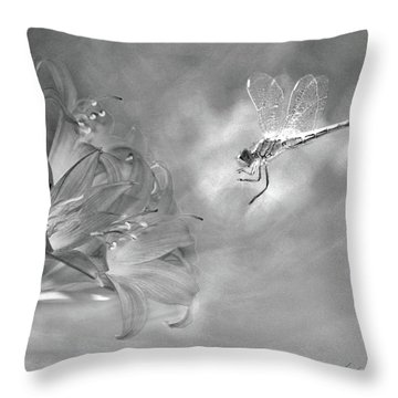 The Dragonfly And The Flower Throw Pillow by Linda Lees