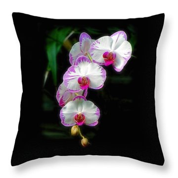 Cascading Orchid Beauties Throw Pillow by Sue Melvin
