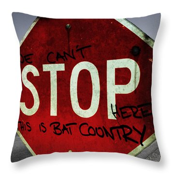 This Is Bat Country Throw Pillow by Nicklas Gustafsson