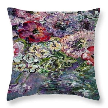 Flowers In An Antique Blue Vase Throw Pillow by Eloise Schneider