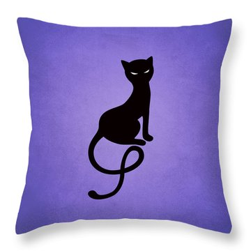 Purple Gracious Evil Black Cat Throw Pillow by Boriana Giormova
