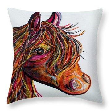 A Stick Horse Named Amber Throw Pillow by Eloise Schneider