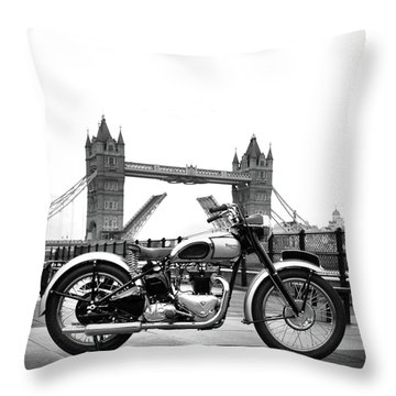 1949 Triumph T100 Throw Pillow by Mark Rogan