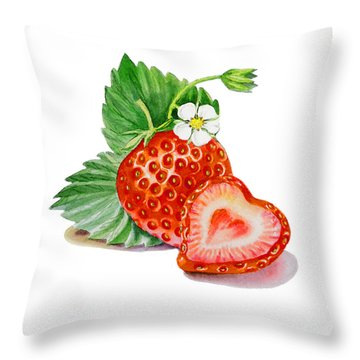 Artz Vitamins A Strawberry Heart Throw Pillow by Irina Sztukowski
