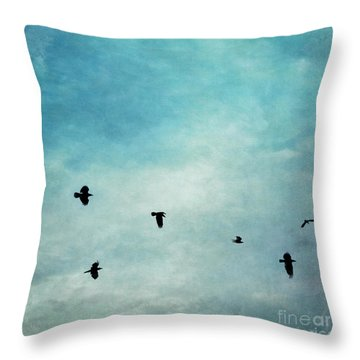As The Ravens Fly Throw Pillow by Priska Wettstein