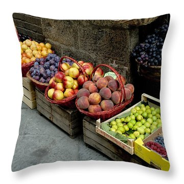 Assorted Fresh Fruits Of Berries Throw Pillow by Todd Gipstein