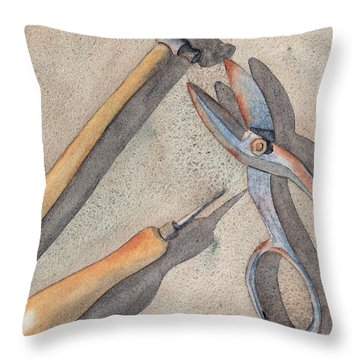 Assorted Tools Throw Pillow by Ken Powers