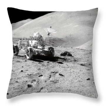 Astronaut Works At The Lunar Roving Throw Pillow by Stocktrek Images