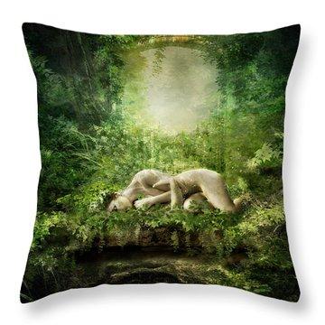 At Sleep Throw Pillow by Mary Hood