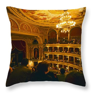 At The Budapest Opera House Throw Pillow by Madeline Ellis