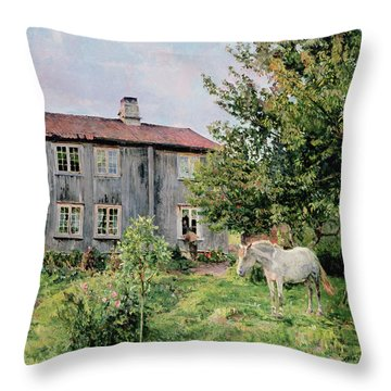 At The Farm Throw Pillow by Gerhard Peter Frantz Vilhelm Munthe
