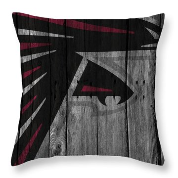 Atlanta Falcons Wood Fence Throw Pillow by Joe Hamilton