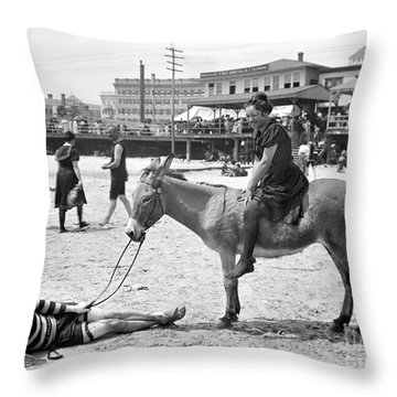 Atlantic City: Donkey Throw Pillow by Granger