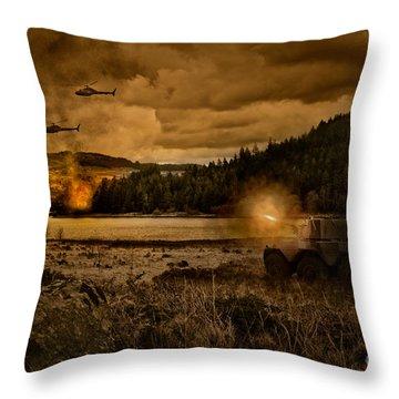 Attack At Nightfall Throw Pillow by Amanda Elwell