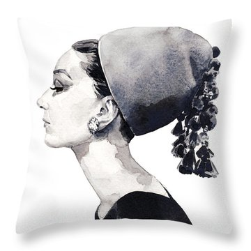 Audrey Hepburn For Vogue 1964 Couture Throw Pillow by Laura Row