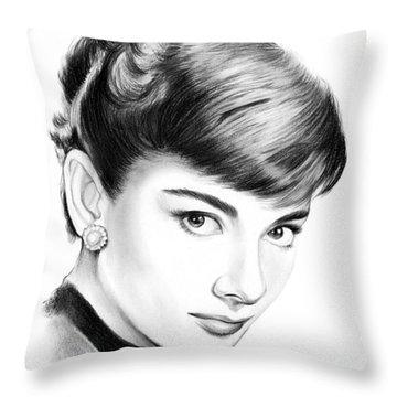 Audrey Hepburn Throw Pillow by Greg Joens