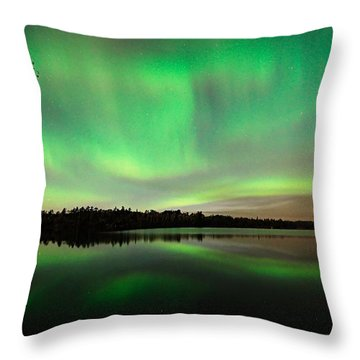 Aurora Over Tofte Lake Throw Pillow by Larry Ricker
