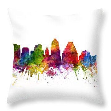 Austin Cityscape 06 Throw Pillow by Aged Pixel