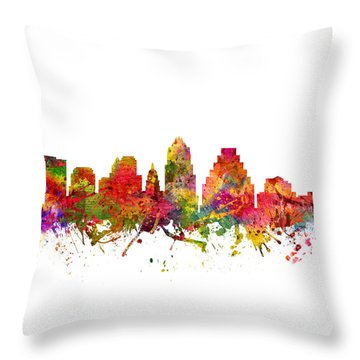 Austin Cityscape 08 Throw Pillow by Aged Pixel
