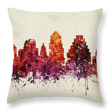 Austin Cityscape 09 Throw Pillow by Aged Pixel