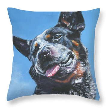 Australian Cattle Dog 2 Throw Pillow by Lee Ann Shepard