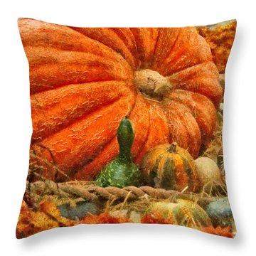 Autumn - Pumpkin - Great Gourds Throw Pillow by Mike Savad