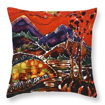 Autumn Adirondack Sunset Throw Pillow by Carol Law Conklin