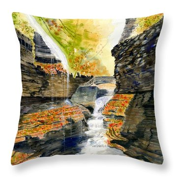 Autumn At Rainbow Falls  Throw Pillow by Melly Terpening