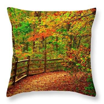 Autumn Bend - Allaire State Park Throw Pillow by Angie Tirado