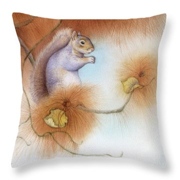 Autumn Come Softly Squirrel Throw Pillow by Tracy Herrmann