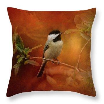 Autumn Day Chickadee Bird Art Throw Pillow by Jai Johnson