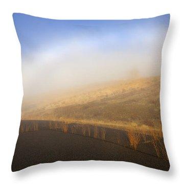Autumn Fog Bow Throw Pillow by Mike  Dawson