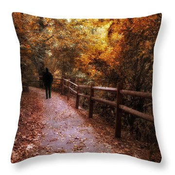 Autumn In Stride Throw Pillow by Jessica Jenney