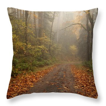 Autumn Lane Throw Pillow by Mike  Dawson