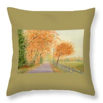 Autumn Lane - Royden Park, Wirral Throw Pillow by Peter Farrow