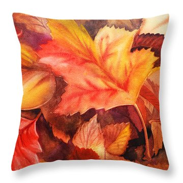 Autumn Leaves Throw Pillow by Irina Sztukowski