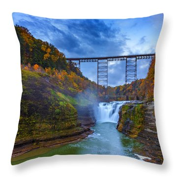 Autumn Morning At Upper Falls Throw Pillow by Rick Berk
