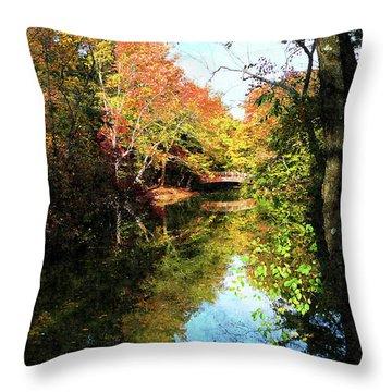 Autumn Park With Bridge Throw Pillow by Susan Savad