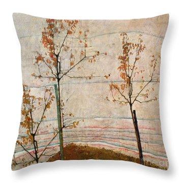 Autumn Trees Throw Pillow by Egon Schiele