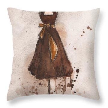 Autumn's Gold Vintage Dress Throw Pillow by Lauren Maurer