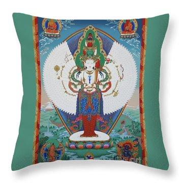 Avalokiteshvara Lord Of Compassion Throw Pillow by Sergey Noskov