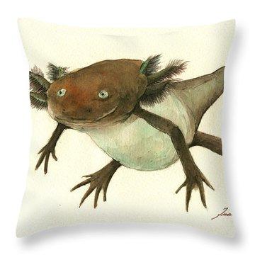 Axolotl Throw Pillow by Juan Bosco