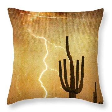 Az Saguaro Lightning Storm V Throw Pillow by James BO  Insogna