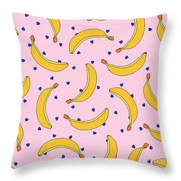 B-a-n-a-n-a-s Throw Pillow by Elizabeth Tuck