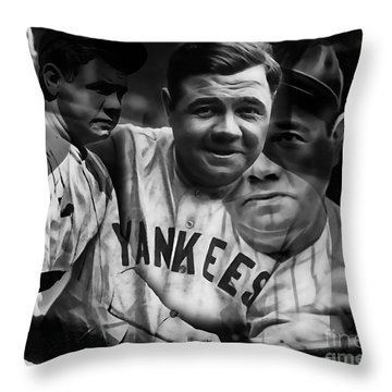 Babe Ruth Collection Throw Pillow by Marvin Blaine
